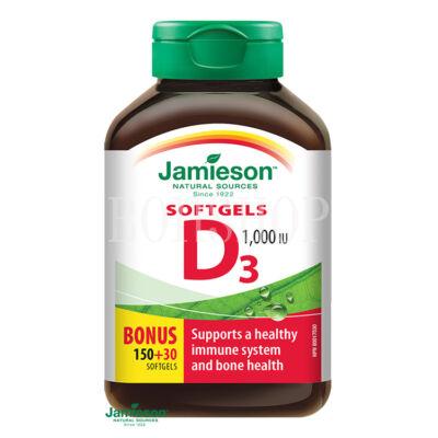 Jamieson D3-vitamin 1000 IU lágy kapszula 180 kapsz.